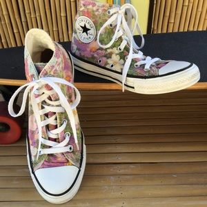 Converse All Star Canvas Floral High Tops Size 7
